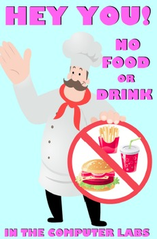 No Food In The Lab (printable, color sign)