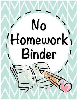 No Homework Binder Cover