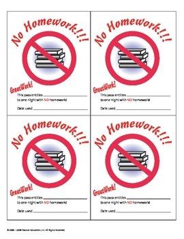 No Homework Certificate Passes