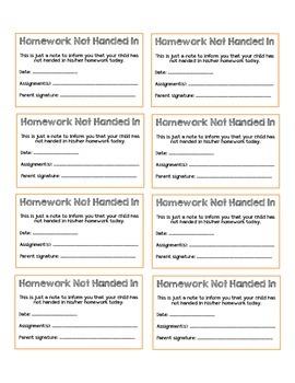 No Homework Note