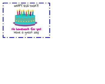 No Homework Pass - Birthday Edition