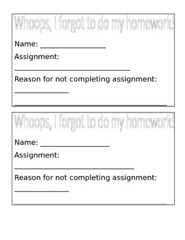No Homework Slip