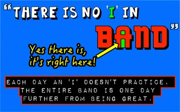 No I in Band - Music Motivational Practice Poster
