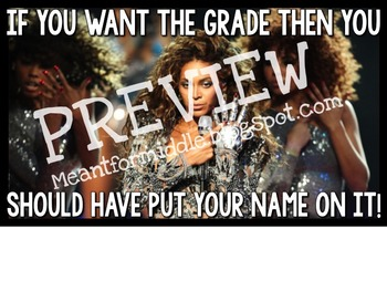 No Name Beyonce Meme Poster - If you want the grade...