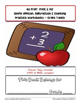 No Prep Addition and Subtraction Workbook Grade 1 CAPs
