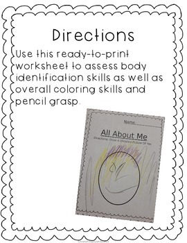 No Prep All About Me Self Portrait Assessment Worksheet