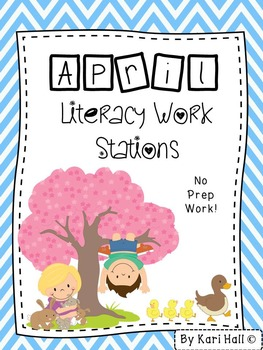 No Prep April Literacy Work Stations and Word Wall Words {