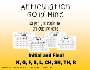 No Prep Articulation Game for K, G, S, F, L, SH, CH, TH, R
