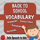 No PREP Back to School Vocabulary