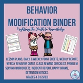 Character Education:Behavior Modification Binder Grades 4-