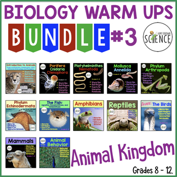 Animal Kingdom Biology Interactive Notebooks or Warm Ups B