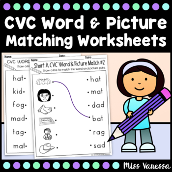 CVC Word Work~ Draw a Line To Match the CVC Words & Pictur