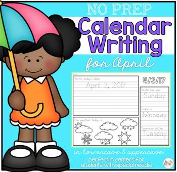 No Prep Calendar Writing Workbook for April