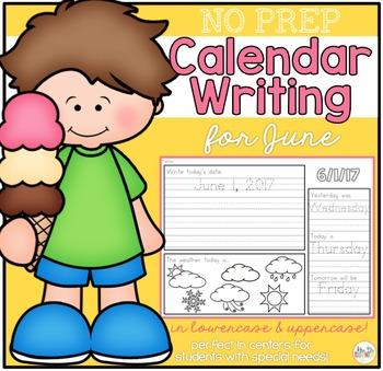 No Prep Calendar Writing Workbook for June