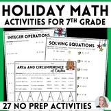 7th Grade Christmas Math Activities
