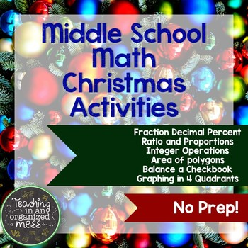 Christmas Math Activites for Middle School Math