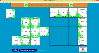No Prep Computer Math Puzzles - St. Patrick's Day Two Step