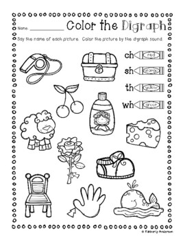 No Prep: Digraphs Coloring Picture Match Activity Sheets (