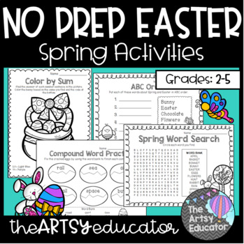 No Prep Easter -- Spring/April [Math, Literacy, & Fun Page