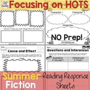 Reading Response Sheets for FICTION  (HOTS): Summer Editio