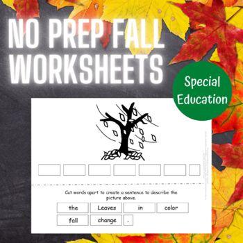 No Prep Fall Theme Set for Special Education