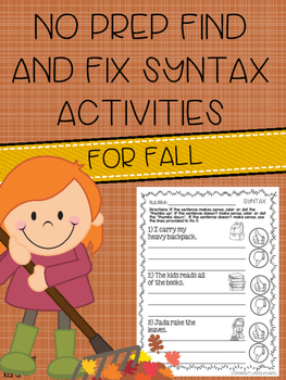 No Prep Find and Fix Syntax Activities for Fall