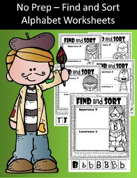 No Prep - Find and Sort Alphabet Worksheets