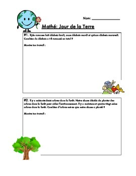 No-Prep French Earth Day Math Questions