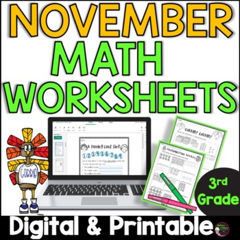 No Prep! Grade 3! Math for November!