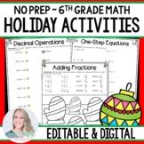 6th Grade Christmas Math Activities