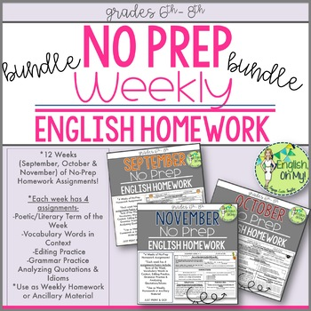No Prep Homework BUNDLE-12 Weeks of Homework Printable-SET 1