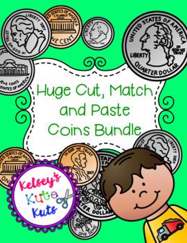 No Prep Huge Cut, Paste and Match Coins Money Bundle
