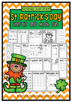 No Prep, Just Print! St.Patrick's Day Literacy and Math Pa