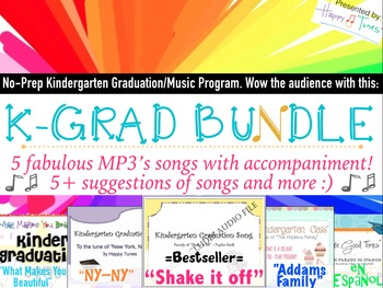 No Prep Kinder Graduation MEGA BUNDLE! 5-MP3 songs, lyrics