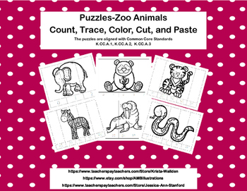 No Prep-Kindergarten Puzzles-  Count, Trace, Color, Cut, a