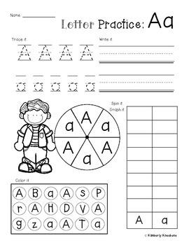 No Prep Letter/Alphabet Practice (Trace it. Write it. Spin