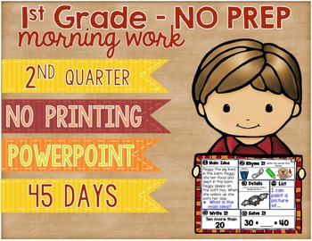 No Prep Morning Work Powerpoint Presentation First Grade S