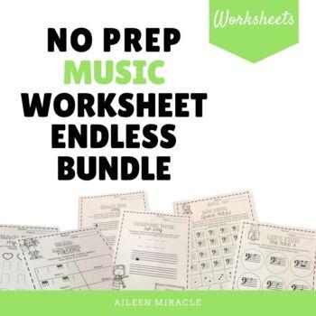 No Prep Music Worksheet Endless Bundle