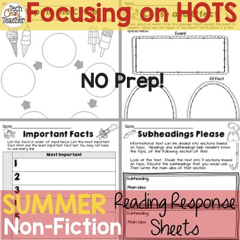 Reading Response Sheets for NONFICTION (HOTS): Summer Edit