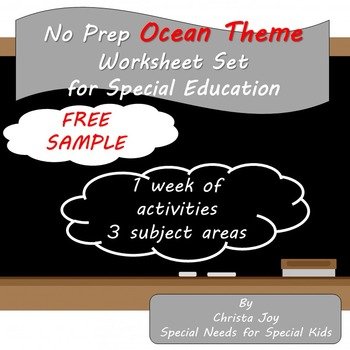 No Prep Ocean Theme for Special Education : Free Sample