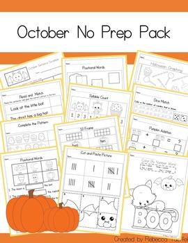 No Prep October / Halloween Math and Literacy