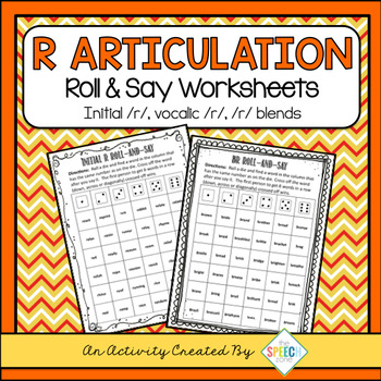 No Prep /R/ Articulation Roll & Say Worksheets