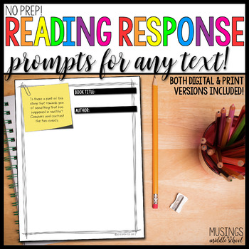 No Prep! Reading Response Prompt Printables