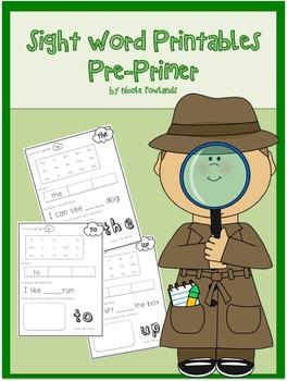 No Prep Sight Word Printables - Pre Primer Words - 40 Worksheets