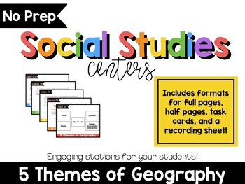 No Prep Social Studies Centers: 5 Themes of Geography