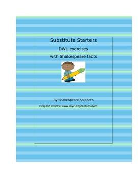 No Prep Substitute Starters: 45 DWLs, grammar exercises, u