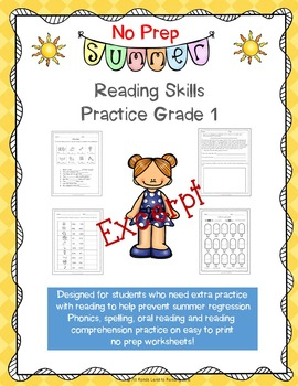 No Prep Summer Reading Skills Practice for First Grade Sample