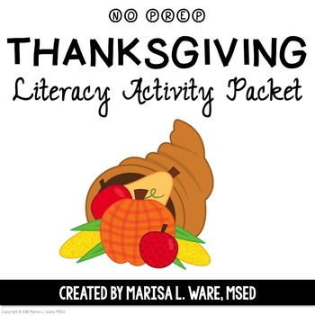 No Prep Thanksgiving Literacy Activity Packet