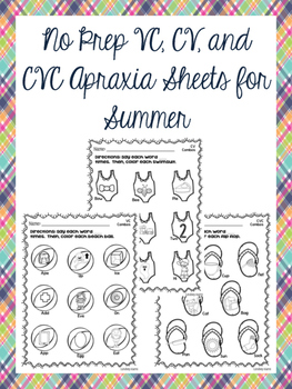 No Prep VC, CV, and CVC Apraxia Sheets for Summer