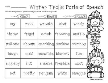No-Prep Winter Trolls Parts of Speech (Nouns / Verbs / Adj